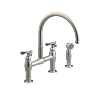 Parq 2 Handle Bridge Kitchen Faucet With Side Sprayer In Vibrant Stainless