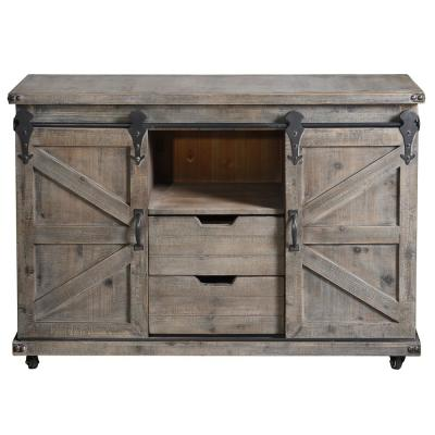 Presley 2-Drawer Driftwood Grey and Open 2-Door Center Cabinet