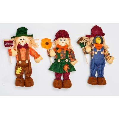 16 in. Standing Scarecrow with Sign or Flower (Set of 2)