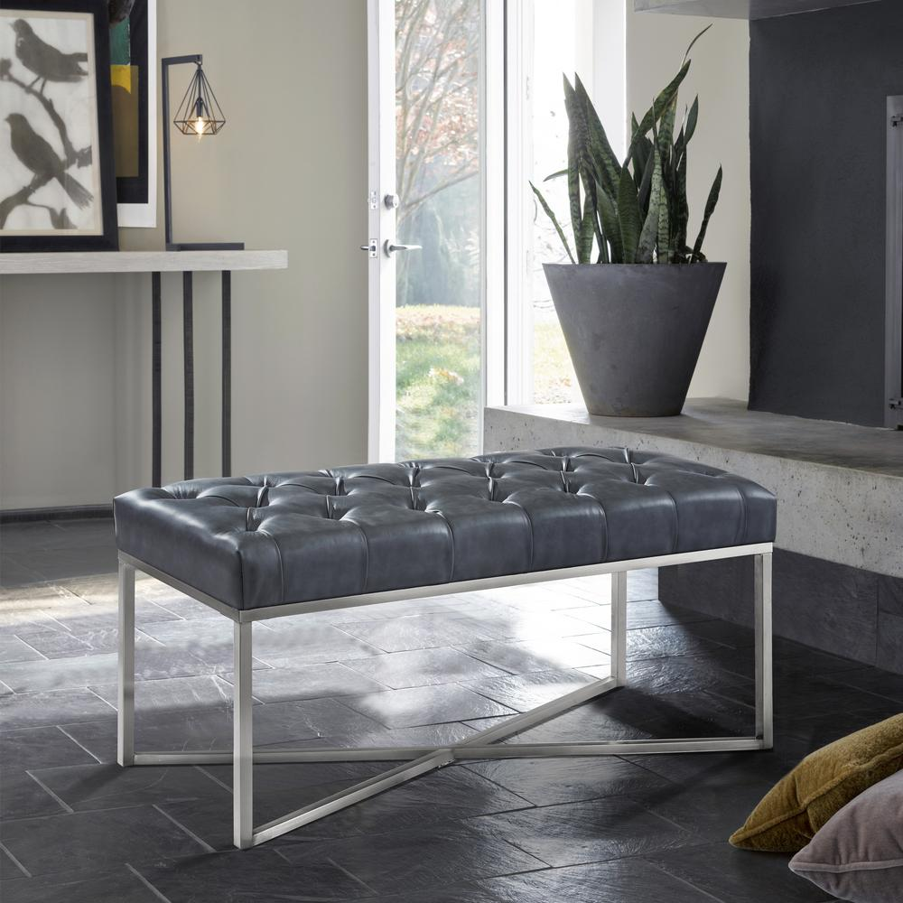 Merveilleux Armen Living Noel Grey Faux Leather And Brushed Stainless Steel  Contemporary Bench