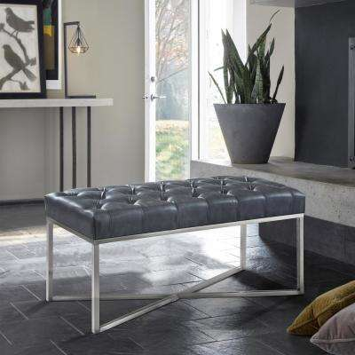 Noel Grey Faux Leather and Brushed Stainless Steel Contemporary Bench