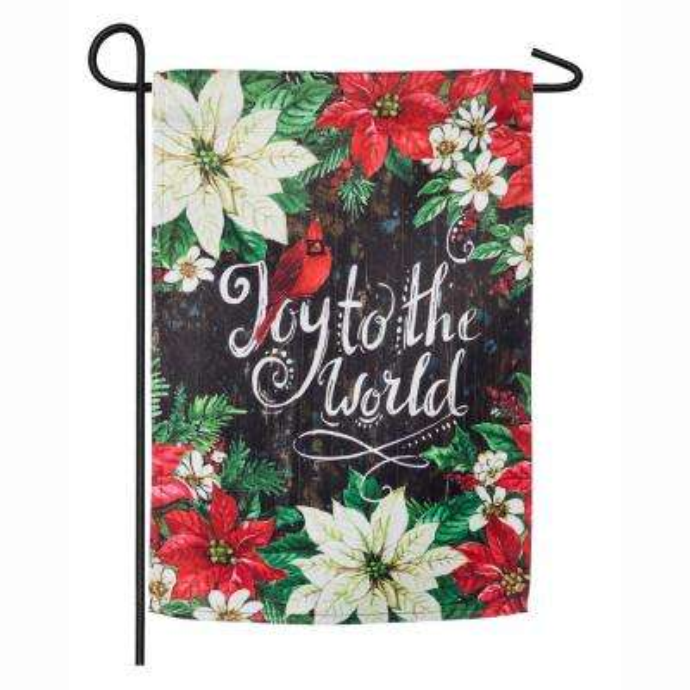 18 in. x 12.5 in. Joy to the World Poinsettias Garden Suede Flag
