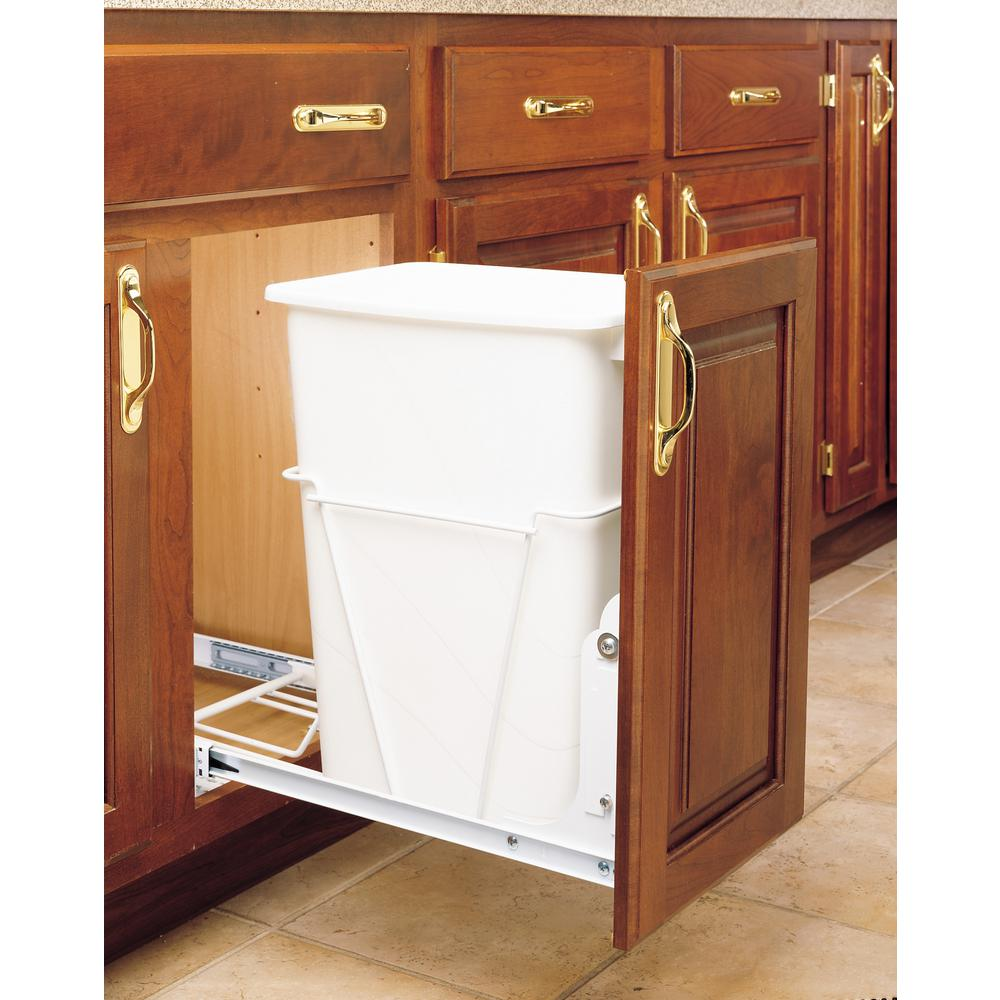 Rev-A-Shelf 19.25 in. H x 10.62 in. W x 22 in. D Single Pull-Out White and  White Container with 3/4 Extension Slides