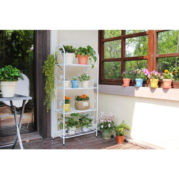 60 In Tall White Metal 4 Tier Plant Stand 3996 The Home Depot