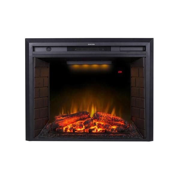 35.6 in. 400sq Ft Toughened Glass Wall-Mount Electric Fireplace with Over Heating Protection in Black