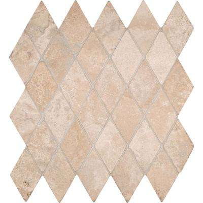 Durango Rhomboids 12 in. x 12 in. x 10mm Tumbled Travertine Mesh-Mounted Mosaic Tile (10 sq. ft. / case)