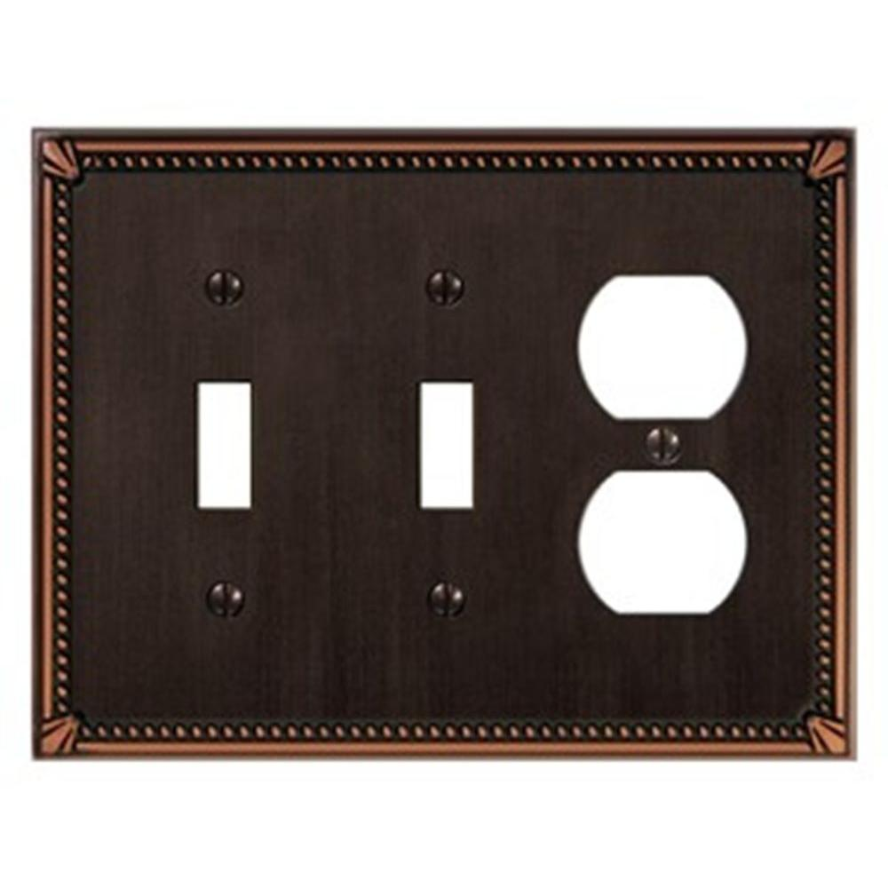 Creative Accents Imperial 2 Toggle 1 Outlet Wall Plate - Antique Bronze