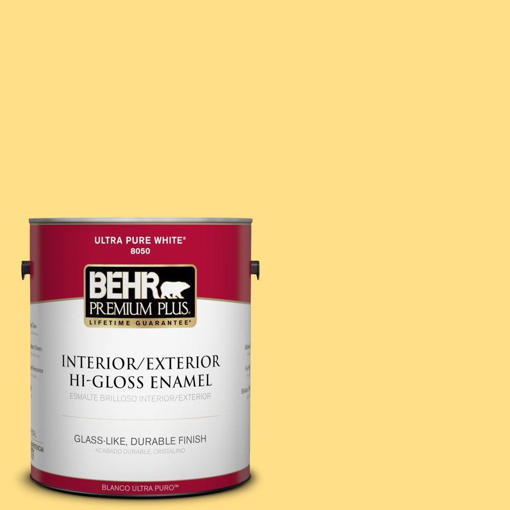 1-gal. #360B-4 Sweet Chamomile Hi-Gloss Enamel Interior/Exterior Paint