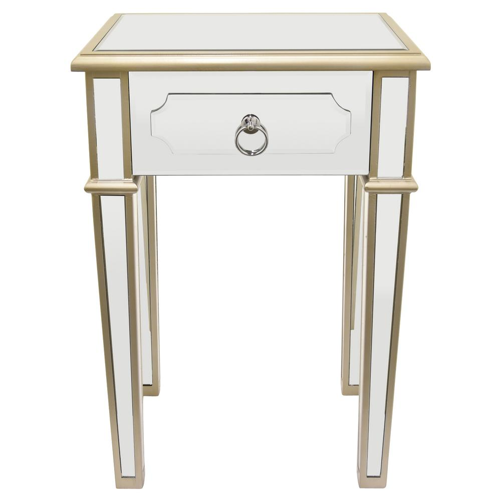 Three Hands 26 In Champagne Wood Mirror End Table