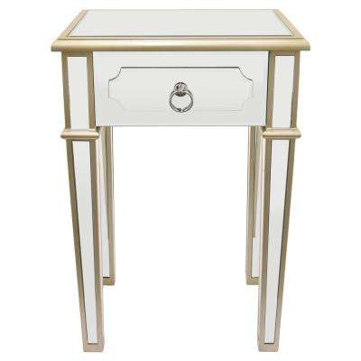 26 in. Champagne Wood Mirror End Table