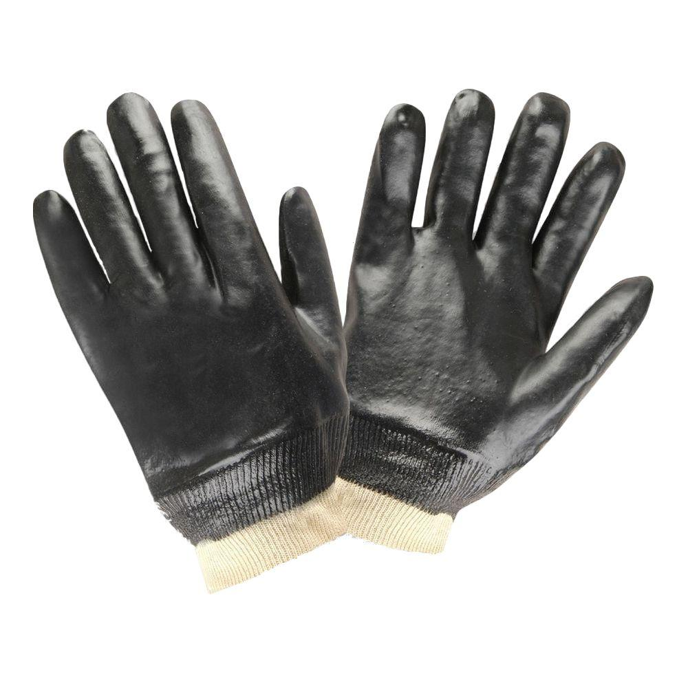 Cordova Smooth Finish Knit Wrist Black PVC Large Work Gloves (2-Pack)