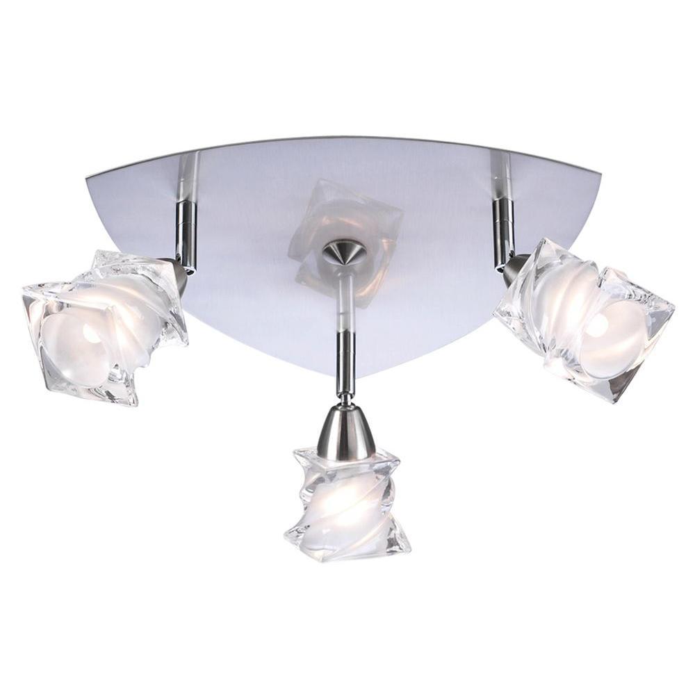 Contemporary Beauty 3-Light Satin Nickel Halogen Flush Mount