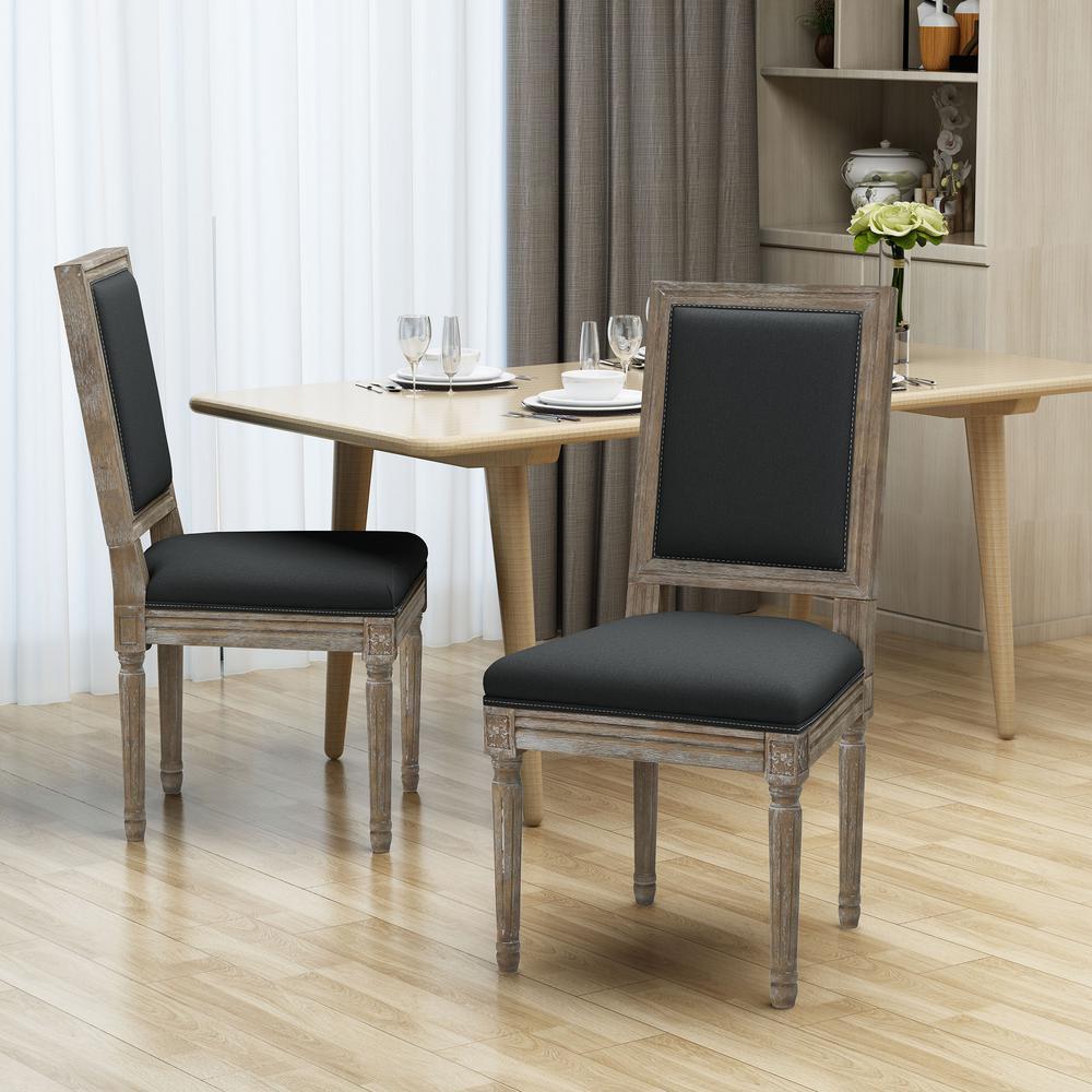 Ledger Dark Grey Wood Upholstered Dining Chair (Set of 2)