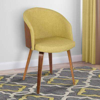 Alpine 31 in. Green Fabric and Walnut Wood Finish Mid-Century Dining Chair