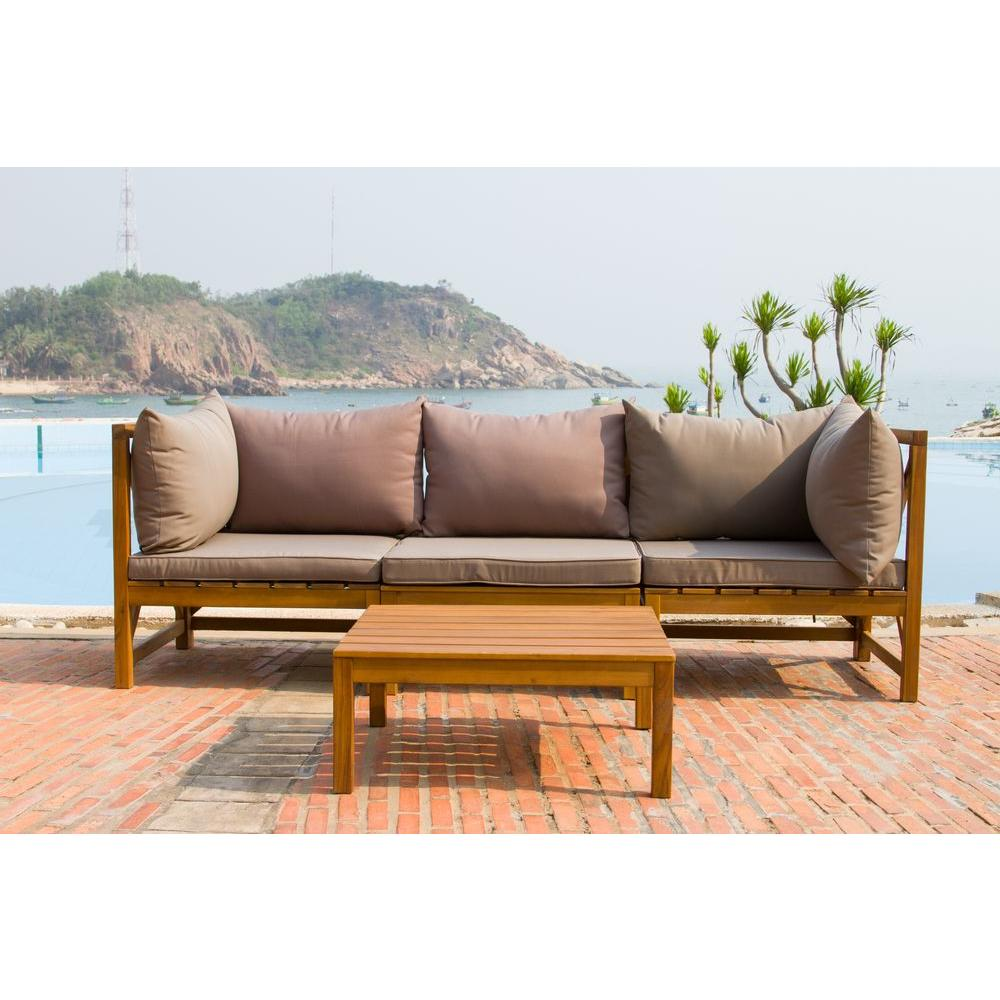 Safavieh Lynwood Modular Teak Brown Outdoor Patio Sectional Set With Taupe  Cushions