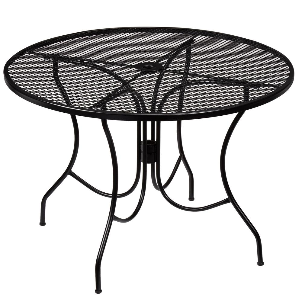 Hampton Bay Nantucket Round Metal Outdoor Dining Table - White metal outdoor dining table