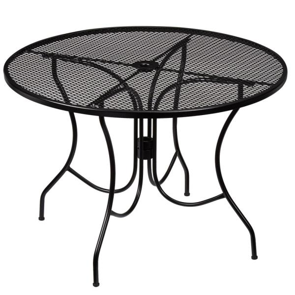 Hampton Bay Nantucket Round Metal Outdoor Patio Dining Table 8243000 0105157 The Home Depot