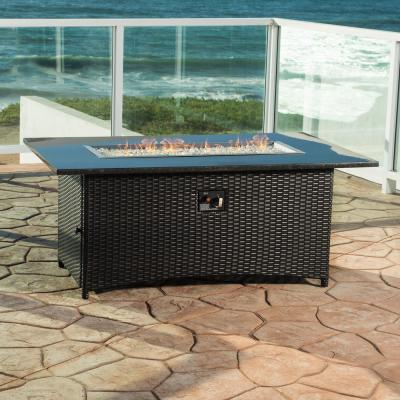 Sedona 58 in. x 24 in. Rectangle Wicker Propane Fire Pit Table in Brown