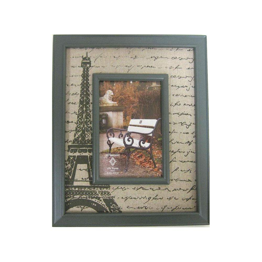 Home Decorators Collection 4 in. x 6 in. Grey and Natural Burlap Print Picture Frame