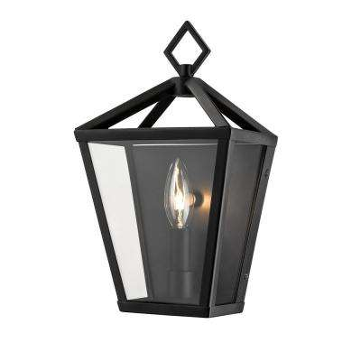Single Light 12 in. Tall Powder Coated Black Outdoor Lantern Wall Sconce