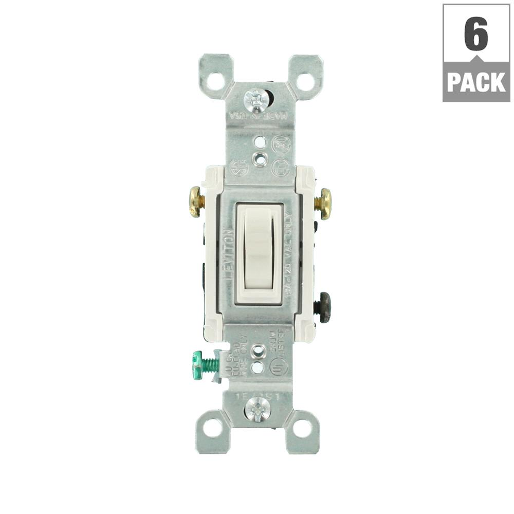 Leviton Decora 15 Amp 3 Way Ac Combination Switch White R52 05641 Three Circuit Diagram Toggle 6 Pack