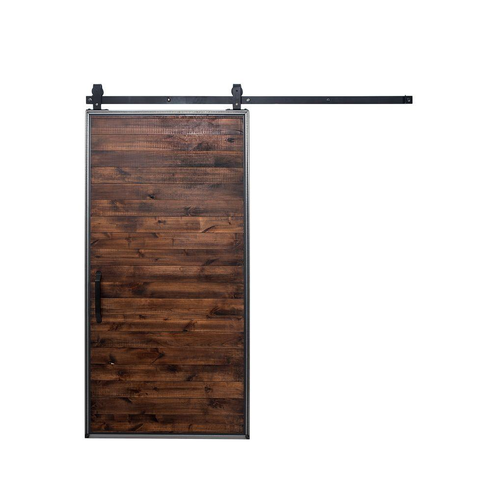 Rustica hardware 42 in x 84 in mountain modern stain glaze clear wood barn door with mountain - Barn door track hardware home depot ...