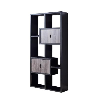 "71""H Black and Distressed Grey Finish Two-Tone Wood Display Bookcase with 6 Shelves and 2 Cabinets"