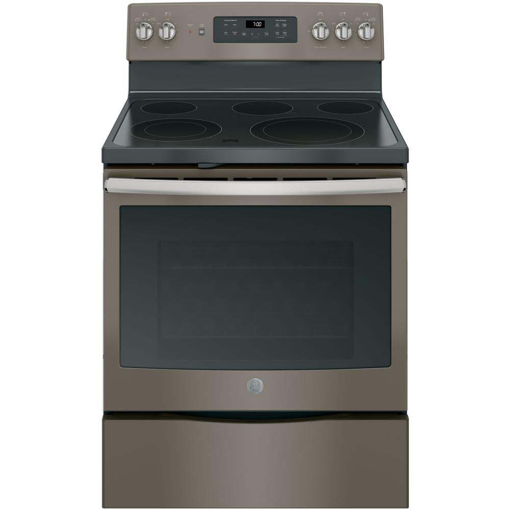 GE 5.3 cu. ft. Electric Range with Self-Cleaning Convection Oven in Slate, Fingerprint Resistant