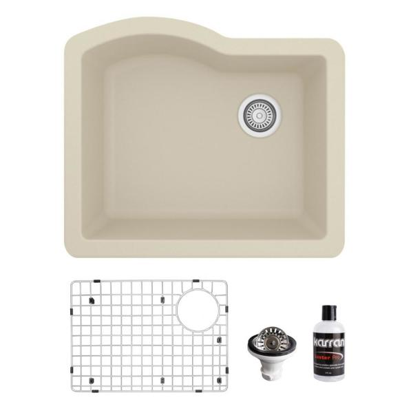 QU-671 Quartz/Granite Composite 24 in. Single Bowl Undermount Kitchen Sink with Grid and Basket Strainer in Bisque