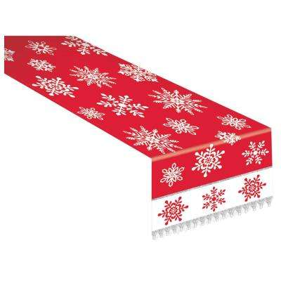 72 in. x 14 in. Christmas Red and White Snowflake Table Runner with Silver Metallic Trim
