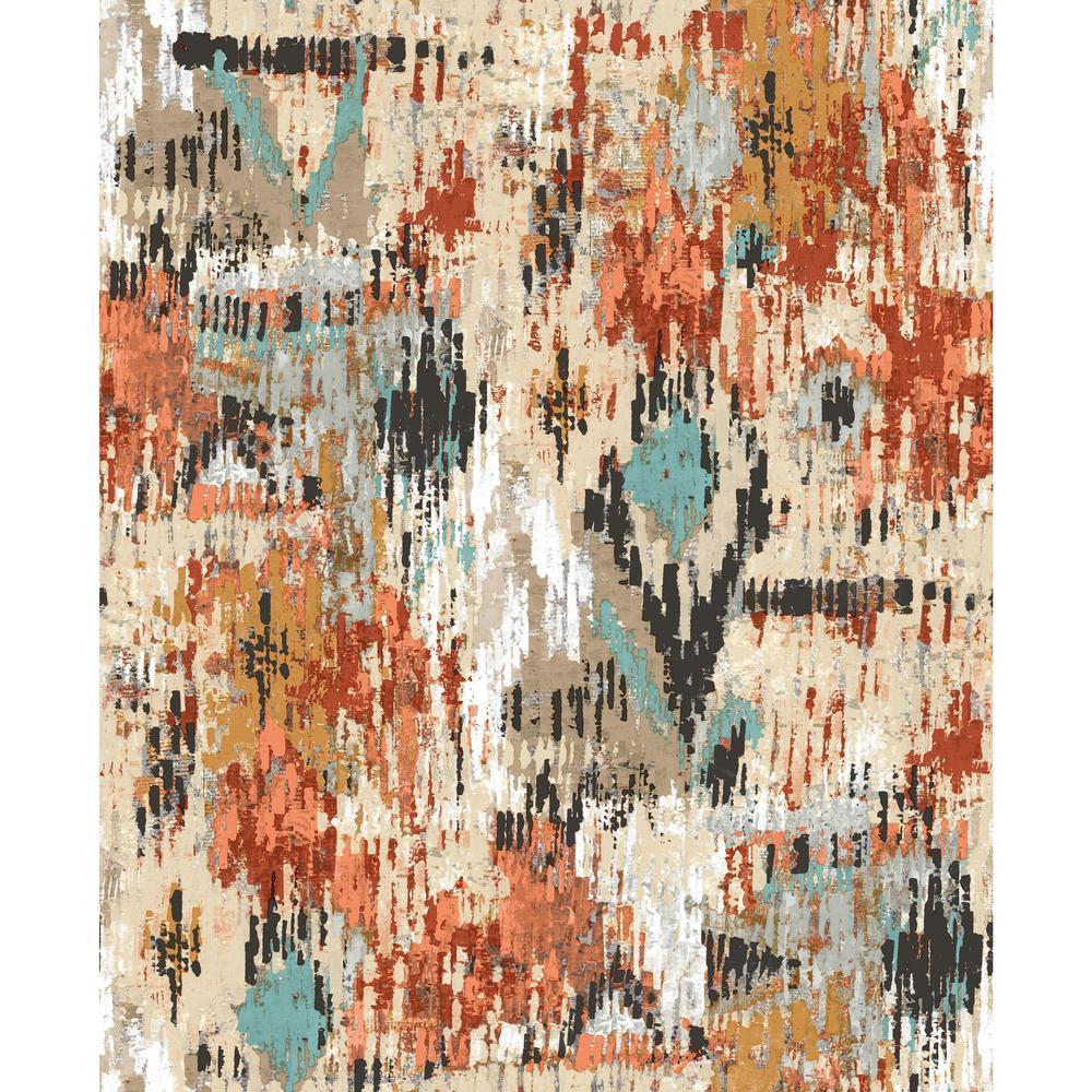 Pleasing York Wallcoverings 28 18 Sq Ft Orange Aztec Peel And Stick Interior Design Ideas Skatsoteloinfo