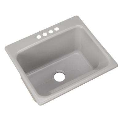 Kensington Drop-In Acrylic 25 in. 4-Hole Single Bowl Utility Sink in Ice Grey