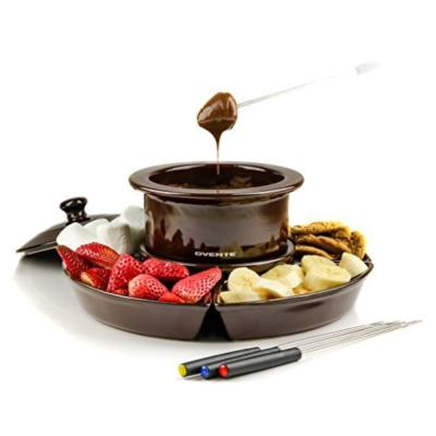 Brown, 1- Liter Electric Cheese or Chocolate Fondue Melting Pots and Warmer Set