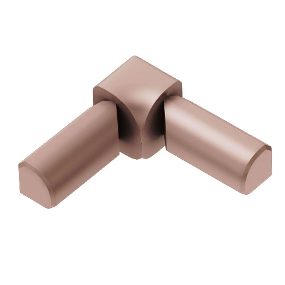Schluter Rondec Satin Copper Anodized Aluminum 3/8 in. x 1 in. Metal 90° Double-Leg Inside Corner