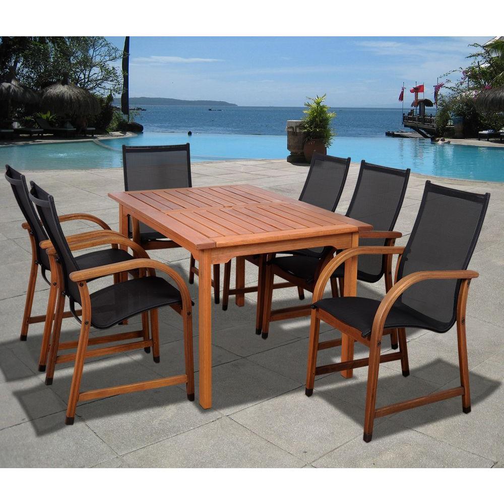 Bahamas Eucalyptus Wood 7-Piece Rectangular Patio Dining Set