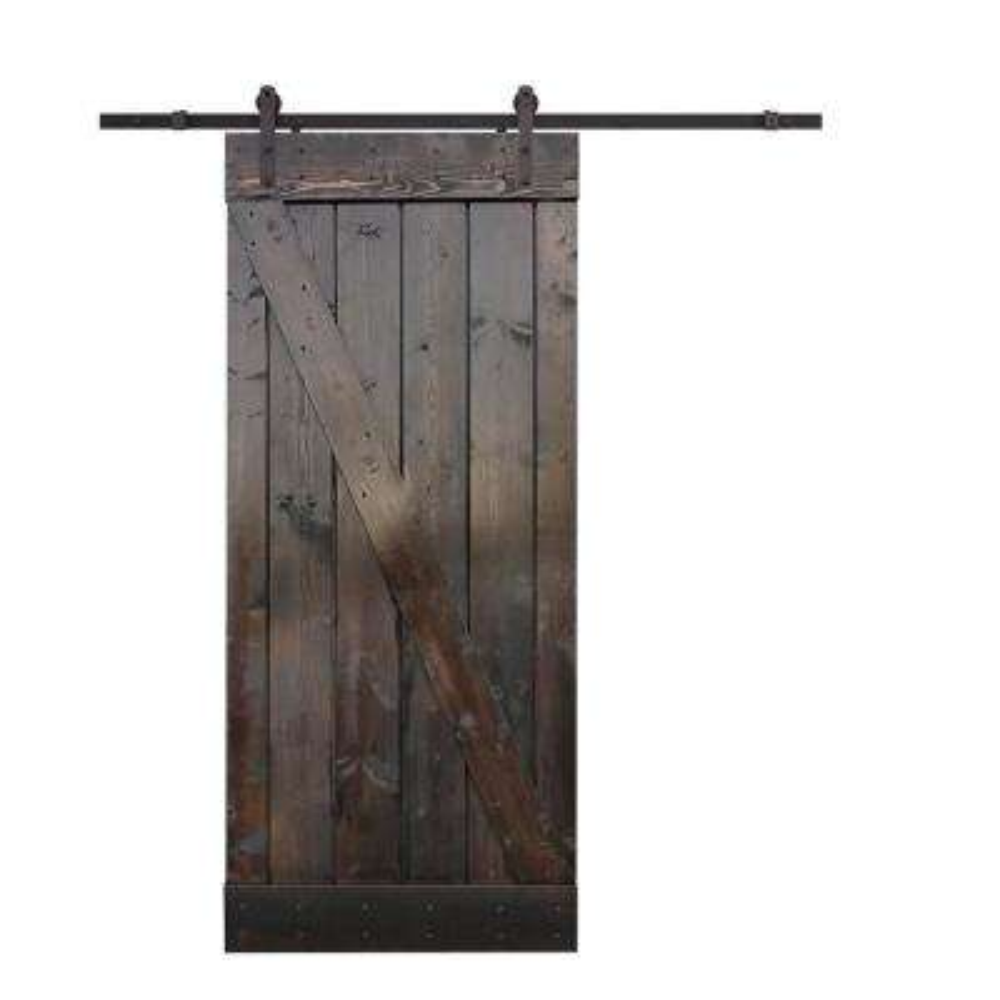 36 in. x 84 in. Z-Bar Dark Walnut Wood Sliding Barn Door with Sliding Door Hardware Kit
