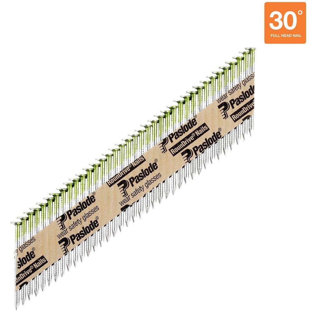 2 in. x 0.113-Gauge 30-Degree Galvanized Ring Shank Paper Tape Framing Nails (2,000 per Box)