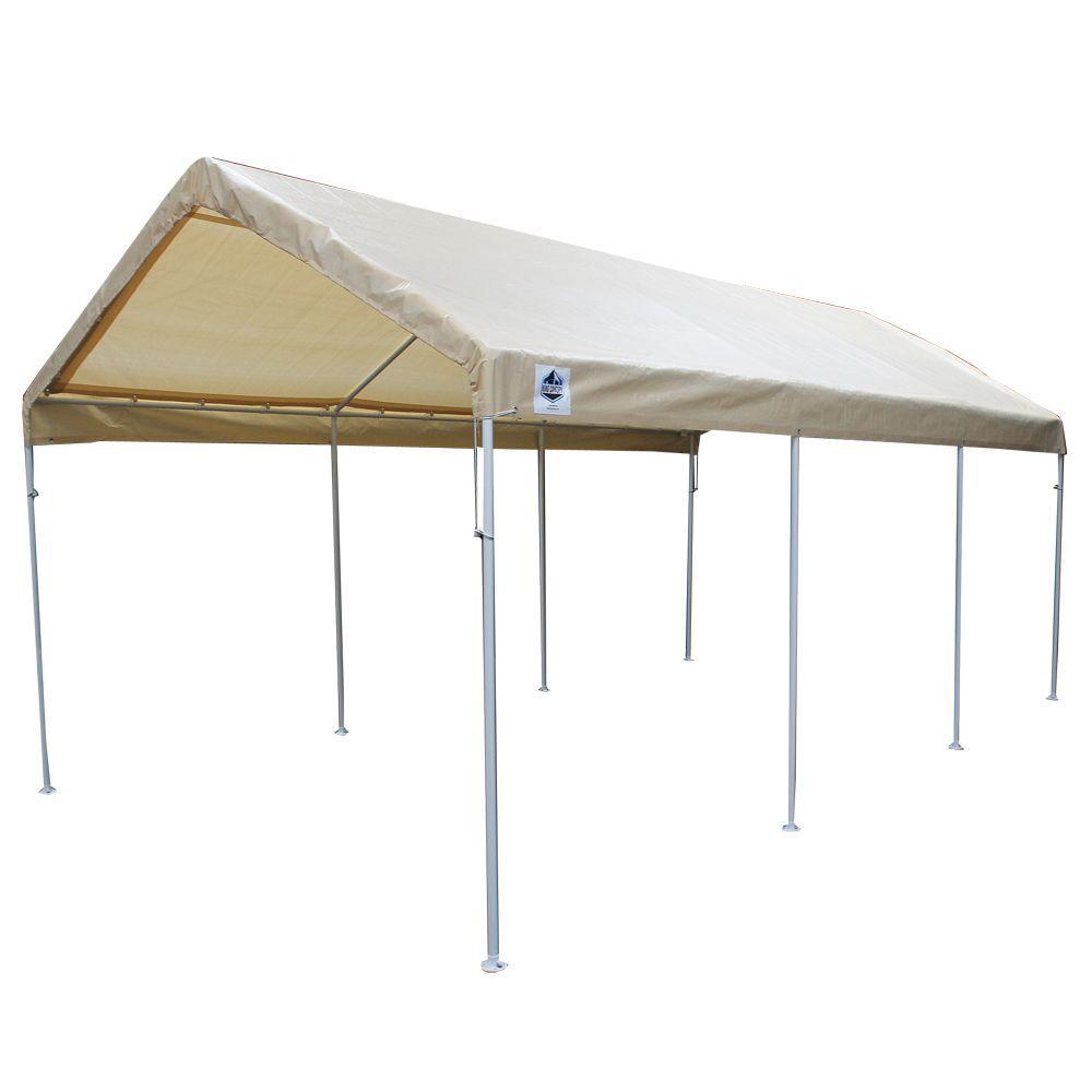 Hercules 10 ft. W x 20 ft. D Steel Canopy in Tan