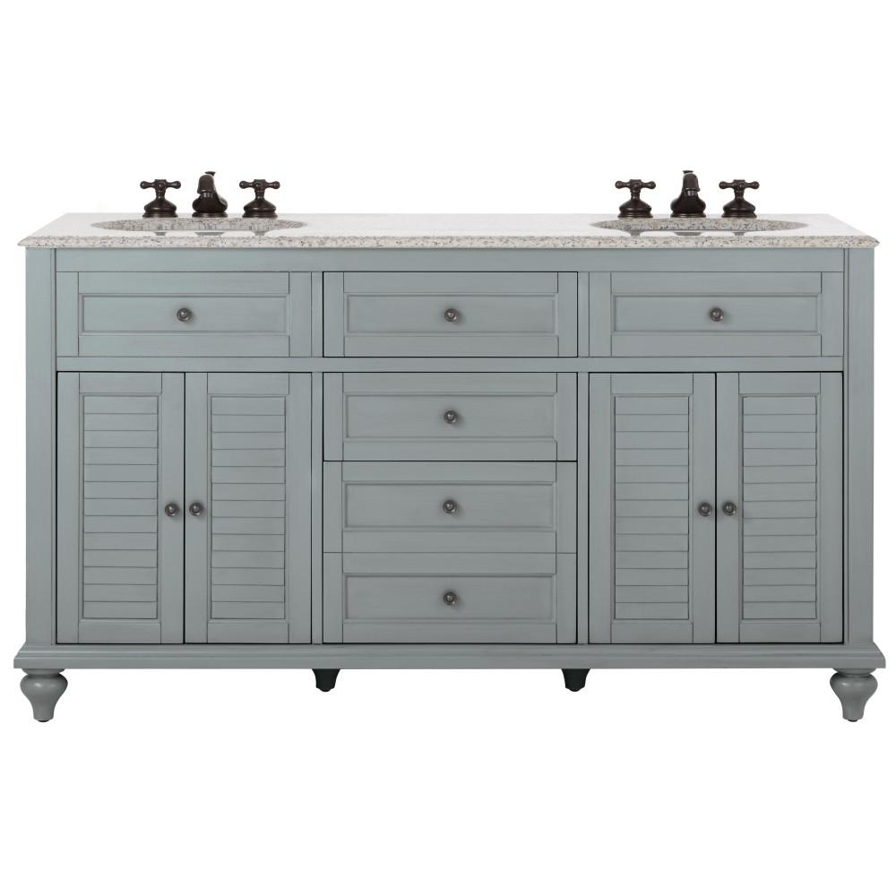 Home decorators collection hamilton 61 in w x 22 in d double bath vanity in grey with granite - Double bathroom vanities granite tops ...