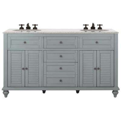 Hamilton 61 in. W x 22 in. D Double Bath Vanity in Grey with Granite Vanity Top in Grey with White Basin