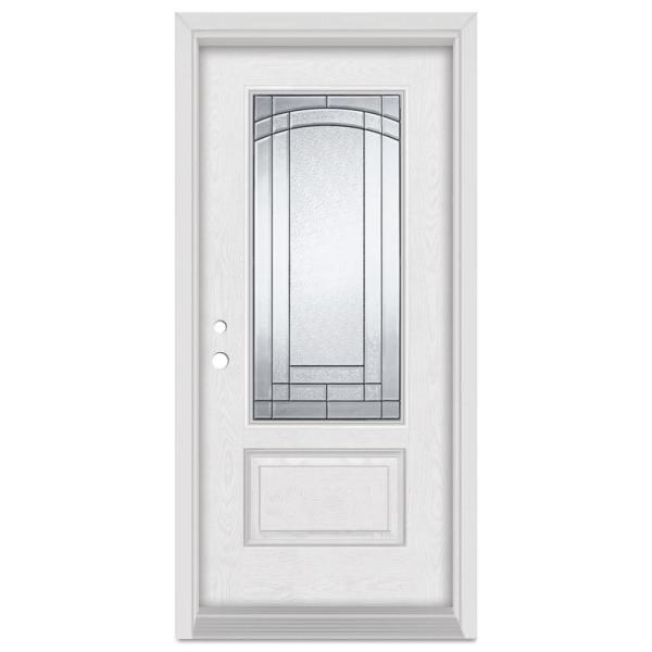 36 in. x 80 in. Chatham Right-Hand 3/4 Lite Patina Finished Fiberglass Oak Woodgrain Prehung Front Door