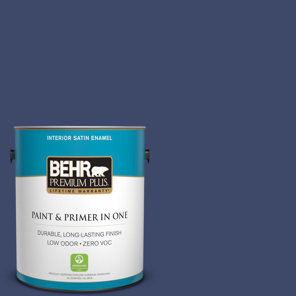 1 gal. #PPU15-01 Nobility Blue Zero VOC Satin Enamel Interior Paint