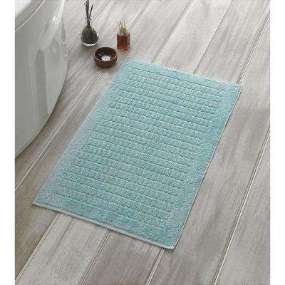 Solomon Collection 20 in. W x 31 in. H 100% Turkish Cotton Bordered Design Luxury Bath Mat in Mint (Set of 2)