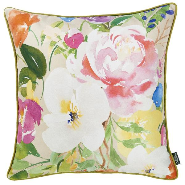 Homeroots Josephine Multicolor Floral 18 In X 18 In Throw Pillow Cover 355436 The Home Depot