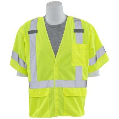 S661 XL Class 3 5-Point Break-Away/D-Ring Poly Tricot Hi-Viz Lime Vest