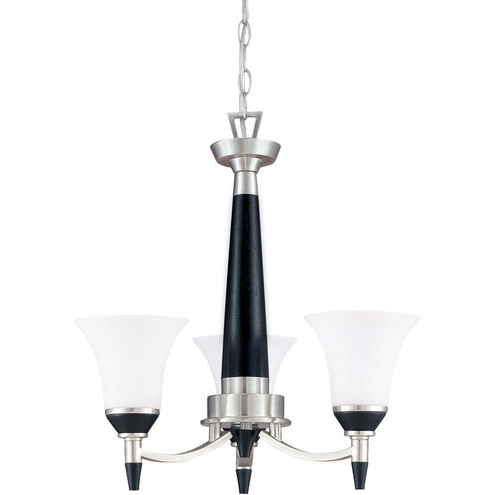 Glomar Keen 3-Light Ebony & Brushed Nickel Chandelier with Satin White Glass Shade