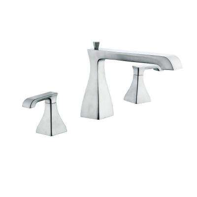 Adelyn 2-Handle Low-Arc Deck-Mount Roman Tub Faucet in Brushed Nickel