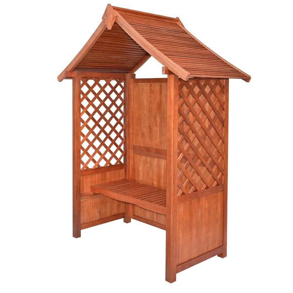 English Garden 66 in. x 91 in. Wood Arbor with Seat