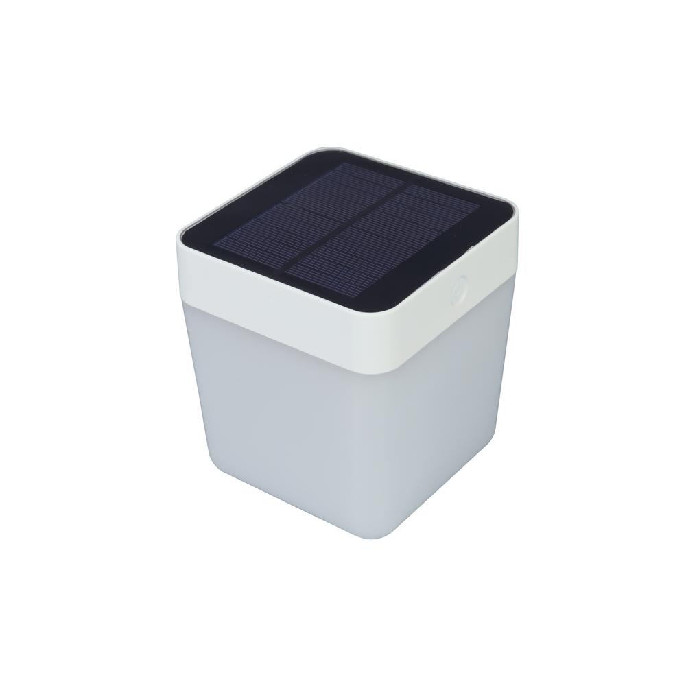 Lutec 5 25 In White Outdoor Solar Table Lamp With Re Chargeable