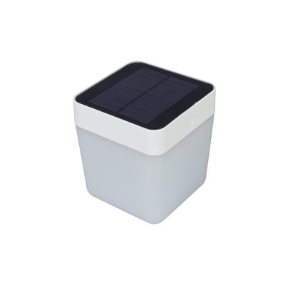 5.25 in. White Outdoor Solar Table Lamp with Re-chargeable Battery